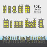 Set of pixel small building Royalty Free Stock Image