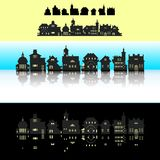 Set of pixel small building royalty free illustration