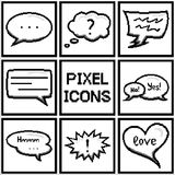 Set of pixel speech bubbles and dialog balloons. Vector Stock Images