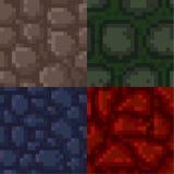 Set of pixel stone textures. Set of pixelated seamless stone textures Stock Photos