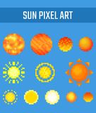 Set of pixel sun on blue background. Set of pixel kinds of sun on blue background. Old school computer graphic style Royalty Free Stock Image