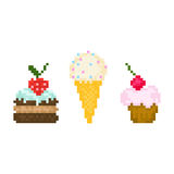 Set pixel sweets Stock Photography