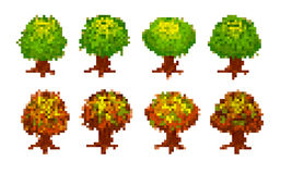 Set of pixel trees Stock Images