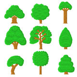 Set of 9 pixel trees. On white background Stock Photography