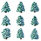 Set of pixel winter snowy tree. Royalty Free Stock Images