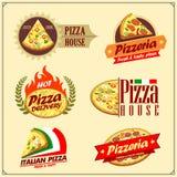Set pizz etykietki, odznaki, ikony i projektów elementy, Emblematy dla pizzeria ilustracji