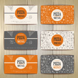 Set of pizza card design. Stock Photography