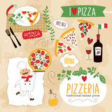 Set of Pizza design elements Stock Photography