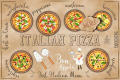 Pizza Menu in Kraft Style Stock Photos