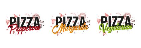 Set of Pizza food logo for restaurant and cafe. Design with hand-drawn graphic elements in doodle style. Vector Illustration. Set of Pizza food logo for Stock Images