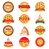 Set of pizza labels and badges. Vector illustration royalty free illustration