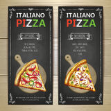Set of pizza menu banners. Set of artistic  pizza menu banners Royalty Free Stock Photo