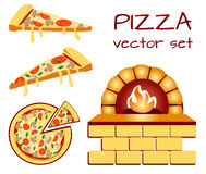 Set of pizza menu icons. Food icons. VECTOR illustration isolated on white baclground. Set of pizza menu icons. Food icons. Packaging symbols. VECTOR Stock Photography