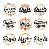 Set of pizza, pasta, pizzeria and italian food hand written lettering logos, labels, badges. stock illustration
