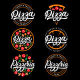 Set of pizza and pizzeria hand written lettering logo, label, badge. Stock Photo