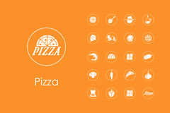 Set of pizza simple icons Royalty Free Stock Image