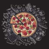 Set pizza składniki w doodle stylu odizolowywającym Obrazy Stock