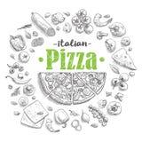 Set pizza składniki w doodle stylu odizolowywającym Zdjęcia Stock