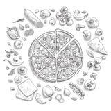 Set pizza składniki w doodle stylu odizolowywającym Fotografia Royalty Free