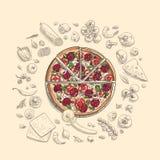 Set pizza składniki w doodle stylu odizolowywającym Zdjęcie Royalty Free