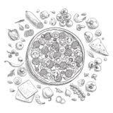 Set pizza składniki w doodle stylu odizolowywającym Obraz Royalty Free
