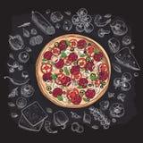 Set pizza składniki w doodle stylu odizolowywającym Obraz Stock