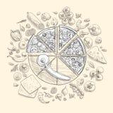 Set pizza składniki w doodle stylu odizolowywającym Zdjęcie Stock