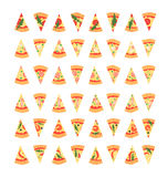 Set of pizza slices with different toppings including shrimps, chili pepper, mushrooms, bacon, cheese, onion, tomatoes, salami. Ve Royalty Free Stock Image