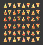 Set of pizza slices with different toppings including shrimps, chili pepper, mushrooms, bacon, cheese, onion, tomatoes, salami. Ve Royalty Free Stock Photos