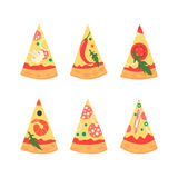 Set of pizza slices with different toppings including shrimps, chili pepper, mushrooms, bacon, cheese, tomatoes, salami Royalty Free Stock Photos