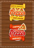 Set of pizza stickers with the banner. Fresh product. Express delivery. On wooden background Vector Illustration