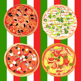 Set pizza on the table with Italian flag Royalty Free Stock Photos