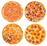 Set of pizzas with ham and pepperoni Stock Photography