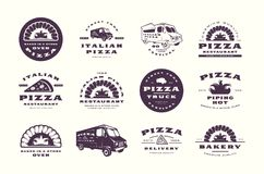 Set of pizzeria and bakery labels, emblems and logos. Pizza truck and stone oven image. Isolated on white background stock illustration