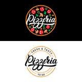 Set of pizzeria hand written lettering logo, label, badge or emblem. On black background. Vector illustration royalty free illustration