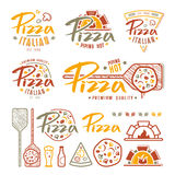Set of pizzeria labels, badges, and design elements Stock Photography