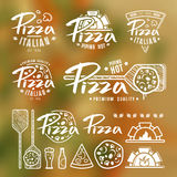 Set of pizzeria labels, badges, and design elements Royalty Free Stock Photo