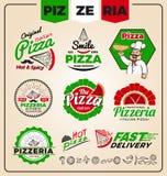 Set of pizzeria logo template design. Stock Image
