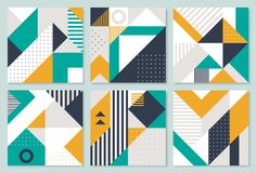 Set of 6 Placard with geometric bauhaus shapes. Retro abstract backgrounds.