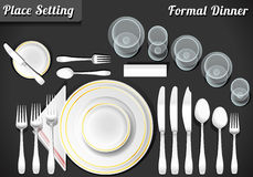 Set of Place Setting Formal Dinner. Detailed Illustration of a Set of Place Setting Formal Dinner Stock Photo