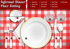 Set of Place Setting Informal Dinner. Detailed Illustration of a Set of Place Setting Informal Dinner Stock Images