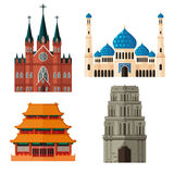 Set of Place of Worship for Different Religions Royalty Free Stock Image