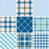 Set of plaid patterns. Baby boy blue patterns royalty free illustration
