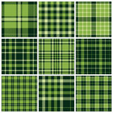 Set of plaid seamless patterns. Green colors. Vector illustration stock illustration
