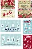 Set plakaty dla sezonowej zimy, Bożenarodzeniowych sprzedaże, rabaty i metki z płatkami śniegu, również zwrócić corel ilustracji  ilustracja wektor