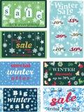 Set plakaty dla sezonowej zimy, Bożenarodzeniowych sprzedaże, rabaty i metki z płatkami śniegu, również zwrócić corel ilustracji  royalty ilustracja