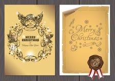Set plakaty lub ulotki dla bożych narodzeń, nowy rok promocje i sprzedaże i Obrazy Royalty Free