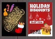 Set plakaty lub ulotki dla bożych narodzeń, nowy rok promocje i sprzedaże i Fotografia Royalty Free