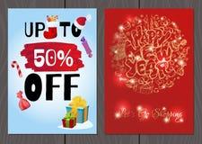 Set plakaty lub ulotki dla bożych narodzeń, nowy rok promocje i sprzedaże i Zdjęcie Stock