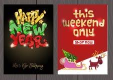 Set plakaty lub ulotki dla bożych narodzeń, nowy rok promocje i sprzedaże i Zdjęcia Royalty Free